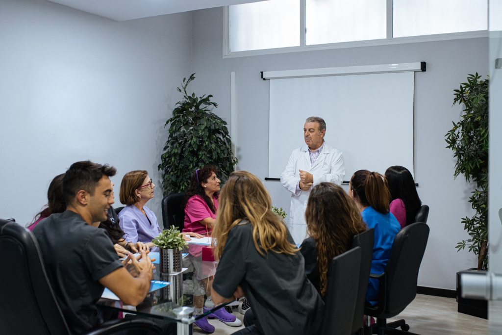 Group of dental professionals having a meeting